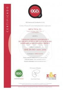Certificado Meca Teca 14001